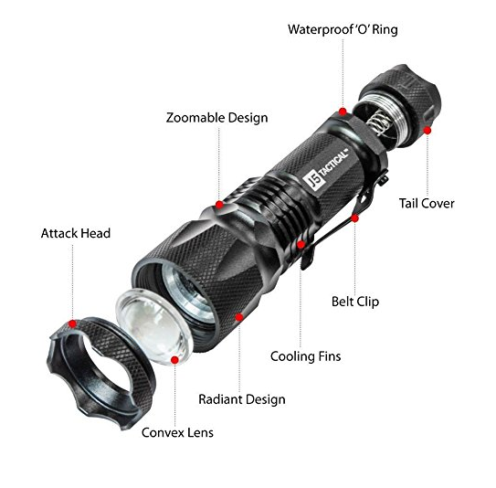 parts of the J5 tactical flashlight